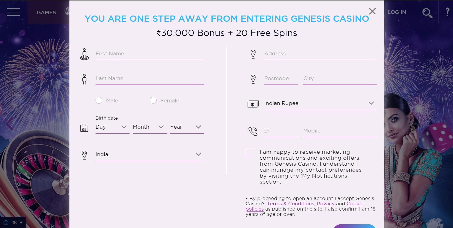 Genesis Casino India sign up