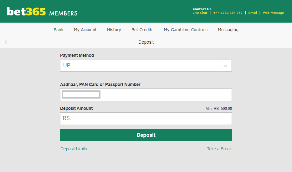 Depositing at Bet365 India