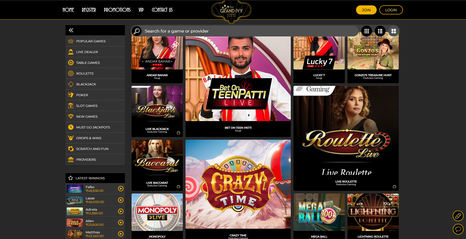 Grand Ivy Casino Review India